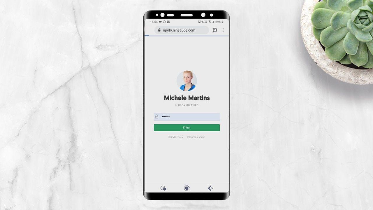Como é a utilização do Ninsaúde Apolo pelo smartphone?